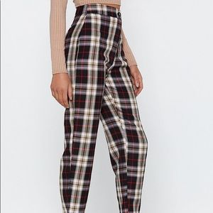 NWT Nasty Gal Tartan Up Tapered Pants Sz 10